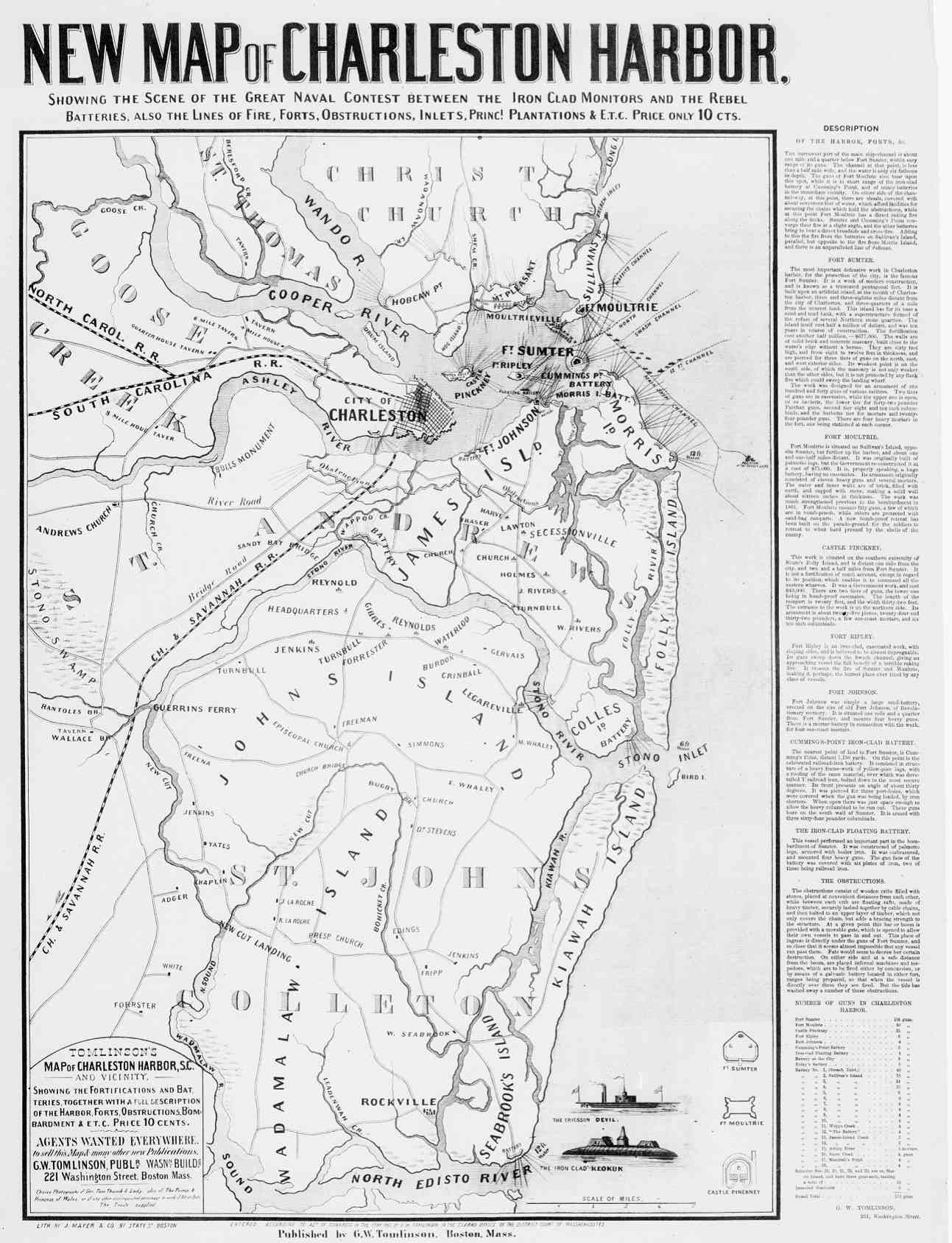 Fort Sumter On Us Map.1861 1865 Civil War Battle Maps Of Charleston Sc Fort Sumter