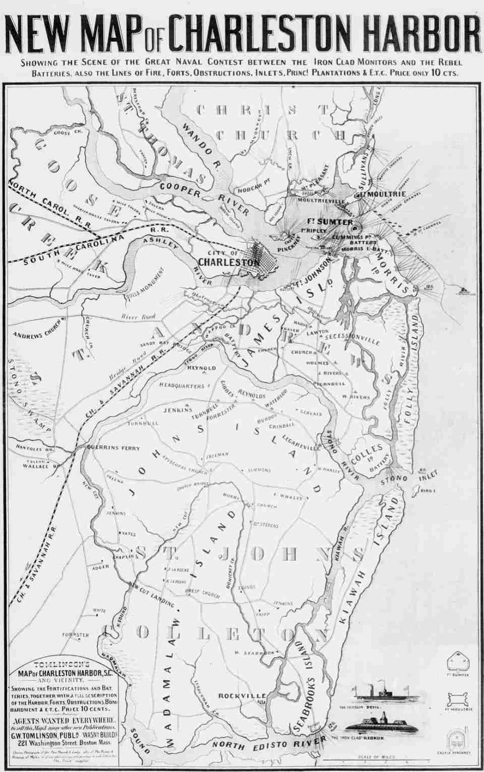 1863 Battle Map of Charleston SC Harbor showing area Forts!